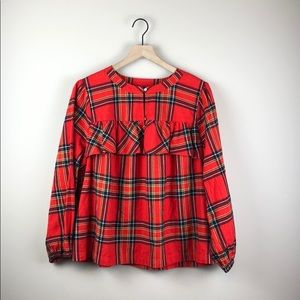 NWT J. Crew Red Plaid Flannel Top (Size Large)